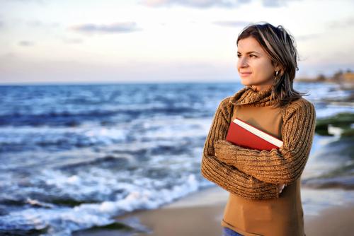 Woman Bible Ocean